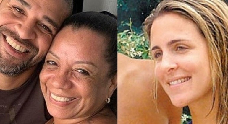Adriano, a mãe e Joana Machado