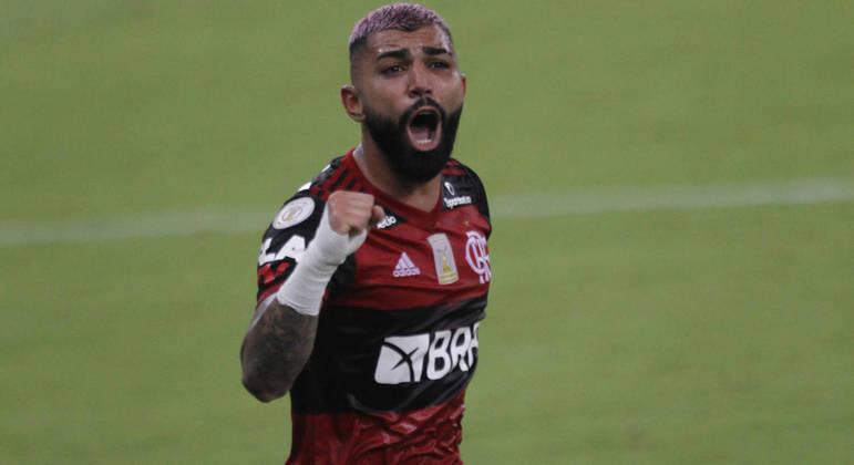 Gabriel comemora gol em partida contra o Vasco na quinta-feira (4)