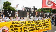 Manifestantes fazem protestos contra Bolsonaro e por vacinas