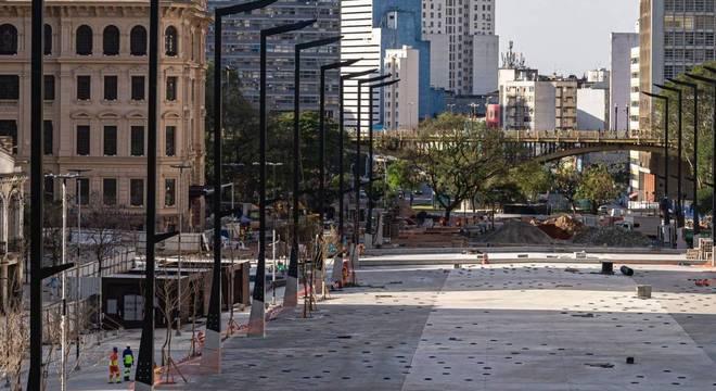 Obras no Vale do Anhangabaú, no centro de São Paulo