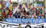 Natal, capital do Rio Grande do Norte, também reuniu manifestantes contrários ao governo neste sábado