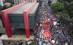 Milhares de brasileiros saíram às ruas neste sábado (19), em diversas cidades e capitais do país, em manifestações contra o governo de Jair Bolsonaro (sem partido) e por vacina para todos. Em São Paulo (SP), os protestos começaram durante a tarde, em especial na região do Masp, na Avenida Paulista