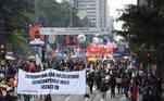 Os manifestantes ocuparam pacificamente a Avenida Paulista, na região central de São Paulo