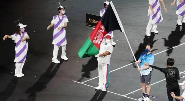 A bandeira do Afeganistão, presente
