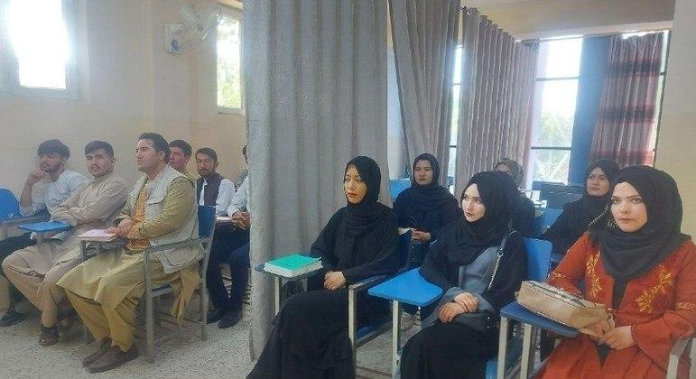 Cortinas separam homens e mulheres em universidades afegãs