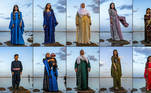 (COMBO) This combination of pictures created and taken on March 21, 2021 shows Syrian Kurds dressed in traditional clothing posing for a picture while standing on a rock in the Mazqaft water reservoir in the countryside of the town of Qahtaniyah in Syria's northeastern Hasakah province close to the border with Turkey, during celebrations on the second day of Nowruz, the Persian New Year. DELIL SOULEIMAN / AFP