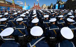 Russian sailors gather at Red Square in Moscow on May 7, 2021, before a rehearsal for the Victory Day military parade. Russia will celebrate the 76th anniversary of the victory over Nazi Germany during World War II on May 9. Kirill KUDRYAVTSEV / AFP