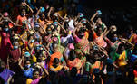 INDIA-RELIGION-HINDUISM-FESTIVAL Hindu devotees carry milk pots as they take part in a procession to mark the Hindu Maha Shivratri festival, in Chennai on March 12, 2021. Arun SANKAR / AFP