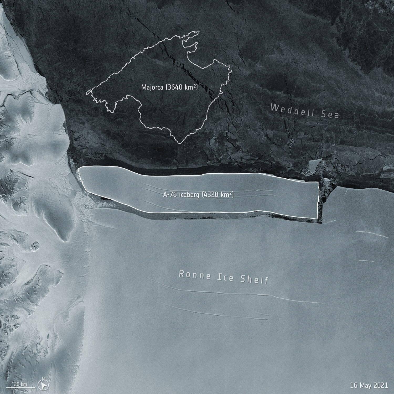 Iceberg está à deriva no mar, informou agência espacial da Europa