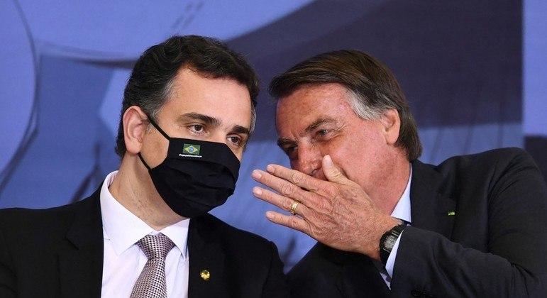 O presidente Bolsonaro e o senador Rodrigo Pacheco: agenda light tenta distensionar relações