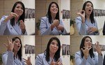 (COMBO) This combination of pictures created on June 16, 2021 shows Shirley Pinto of Israel's right-wing Yamina party using sign language during an interview before her swearing-in ceremony at the Knesset (parliament) in Jerusalem. MENAHEM KAHANA / AFP