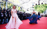 """The 74th Cannes Film Festival - Screening of the film """"Aline"""" Out of Competition - Red Carpet Arrivals - Cannes, France, July 13, 2021. Model Delphine Wespiser poses. REUTERS/Sarah Meyssonnier"""