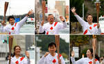 COMBO-OLY-2020-2021-TOKYO-TORCH-RELAY (COMBO) This combination of handout pictures taken and released by Tokyo 2020 on March 25, 2021 shows Japanese torch bearers carrying torches during the first day of the Olympic Games torch relay in Fukushima prefecture. HANDOUT / Tokyo 2020 / AFP