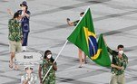 OLY-2020-2021-TOKYO-OPENING Brazil's flag bearer Ketleyn Quadros and Brazil's flag bearer Bruno Mossa Rezende and their delegation parade during the opening ceremony of the Tokyo 2020 Olympic Games, at the Olympic Stadium, in Tokyo, on July 23, 2021. Martin BUREAU / AFP
