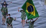 OLY-2020-2021-TOKYO-OPENING Brazil's flag bearer Bruno Mossa Rezende and Brazil's flag bearer Ketleyn Quadros delegation parade during the opening ceremony of the Tokyo 2020 Olympic Games, at the Olympic Stadium, in Tokyo, on July 23, 2021. Ben STANSALL / AFP