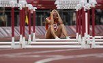 Hungary's Luca Kozak reacts after falling in the women's 100m hurdles semi-finals during the Tokyo 2020 Olympic Games at the Olympic Stadium in Tokyo on August 1, 2021. Jewel SAMAD / AFP