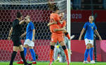 Netherlands' forward Vivianne Miedema (C-R) celebrates with Netherlands' midfielder Danielle Van De Donk (C-L) after scoring theopening goal during the Tokyo 2020 Olympic Games women's group F first round football match between Netherlands and Brazil at the Miyagi Stadium in Miyagi on July 24, 2021. Kohei CHIBAHARA / AFP