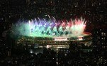 Fireworks light up the sky above the Olympic Stadium during the closing ceremony for the Tokyo 2020 Paralympic Games in Tokyo on September 5, 2021. Behrouz MEHRI / AFP