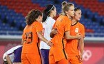 Netherlands' forward Vivianne Miedema (2nd R) celebrates with teammates after scoring a goal during the Tokyo 2020 Olympic Games women's group F first round football match between Netherlands and China at the Yokohama International Stadium in Yokohama on July 27, 2021. Yoshikazu TSUNO / AFP