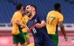 France's midfielder Teji Savanier celebrates after scoring the fourth goal during the Tokyo 2020 Olympic Games men's group A first round football match between France and South Africa at Saitama Stadium in Saitama on July 25, 2021. Kazuhiro NOGI / AFP