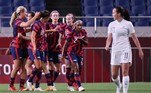 USA's players celebrate their opening goal during the Tokyo 2020 Olympic Games women's group G first round football match between New Zealand and USA at the Saitama Stadium in Saitama on July 24, 2021. Ayaka Naito / AFP