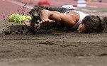Belgium's Thomas Van Der Plaetsen injures himself while competing in the men's decathlon long jump during the Tokyo 2020 Olympic Games at the Olympic Stadium in Tokyo on August 4, 2021. Ben STANSALL / AFP