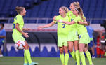 Sweden's forward Fridolina Rolfo (2nd R) celebrates with teammates after scoring a goal during the Tokyo 2020 Olympic Games women's group G first round football match between Sweden and Australia at the Saitama Stadium in Saitama on July 24, 2021. Ayaka Naito / AFP