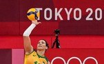 Brazil's Tandara Caixeta serves in the women's preliminary round pool A volleyball match between Brazil and Kenya during the Tokyo 2020 Olympic Games at Ariake Arena in Tokyo on August 2, 2021. Luis ROBAYO / AFP