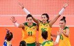 Brazil's players react after a point in the women's quarter-final volleyball match between Brazil and Russia during the Tokyo 2020 Olympic Games at Ariake Arena in Tokyo on August 4, 2021. PEDRO PARDO / AFP