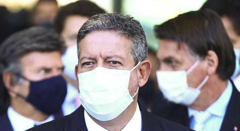 Lira durante declaração conjunta com Bolsonaro e Fux, após reunião com ministros e governadores