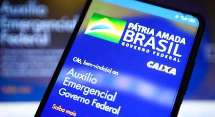 Na imagem, aplicativo do auxílio emergencial