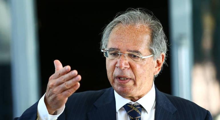 O ministro da Economia, Paulo Guedes, durante entrevista coletiva em julho