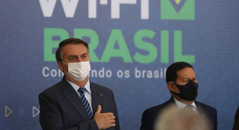 Bolsonaro e Mourão na abertura da Semana das Comunicações, em Brasília
