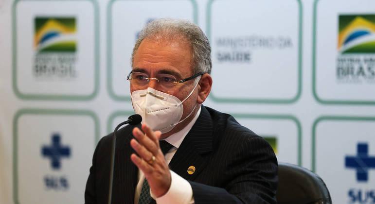 O ministro da Saúde, Marcelo Queiroga: 'Brasil é o quinto país do mundo que mais distribui vacinas'