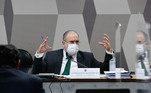 À mesa, indicado para recondução ao cargo de procurador-geral da República, com mandato de dois anos, Antônio Augusto Brandão de Aras.     Foto: Roque de Sá/Agência Senado