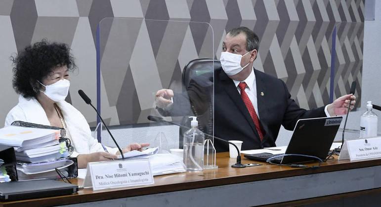 Nise Yamaguchi e o senador Omar Aziz