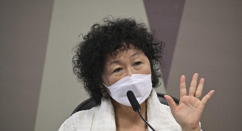 A médica oncologista e imunologista Nise Hitomi Yamaguchi em depoimento à CPI da Covid-19
