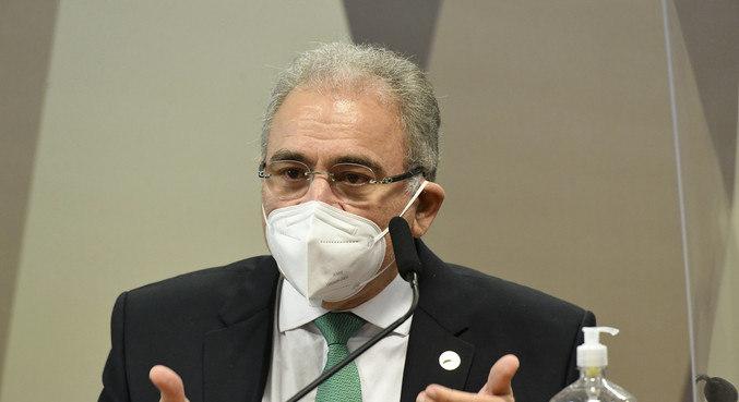 O ministro Saúde, Marcelo Queiroga, durante depoimento na CPI da Covid, no Senado