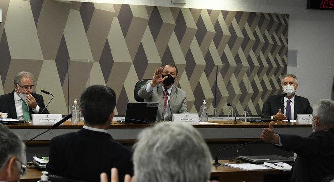 A comissão durante o depoimento do ministro da Saúde, Marcelo Queiroga