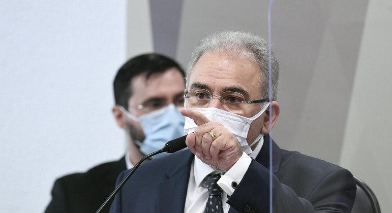 Marcelo Queiroga durante depoimento à CPI da Covid no Senado
