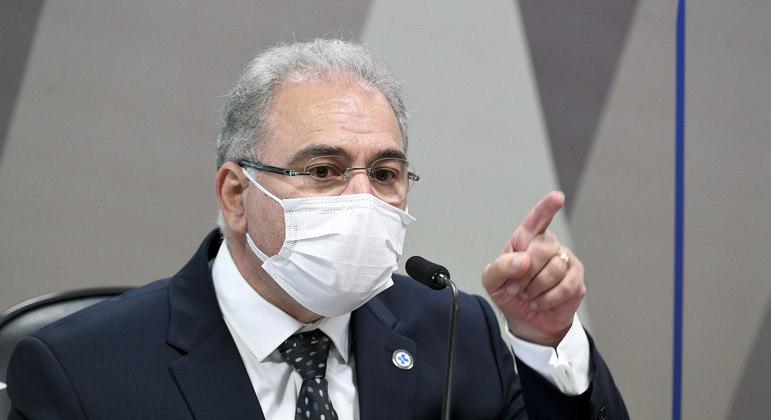 O ministro da Saúde: dilema diante da pressão do Planalto por liberação do uso de máscara.      Foto: Jefferson Rudy/Agência Senado