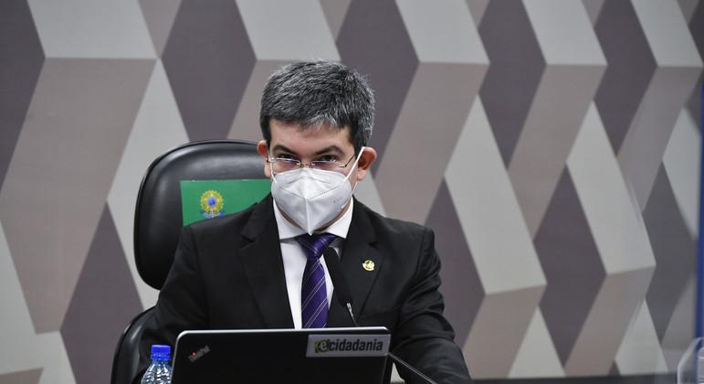 Senador Randolfe Rodrigues (Rede-AP), na CPI da Pandemia