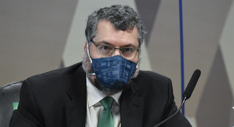 O ex-chanceler Ernesto Araújo, durante depoimento à CPI da Covid