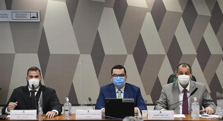 Ricardo Ariel Zimerman, Francisco Eduardo Cardoso Alves e o presidente da CPI, senador Omar Aziz (PSD-AM)