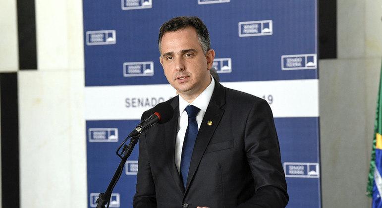 Presidente do Senado, Rodrigo Pacheco (DEM-MG), durante entrevista coletiva