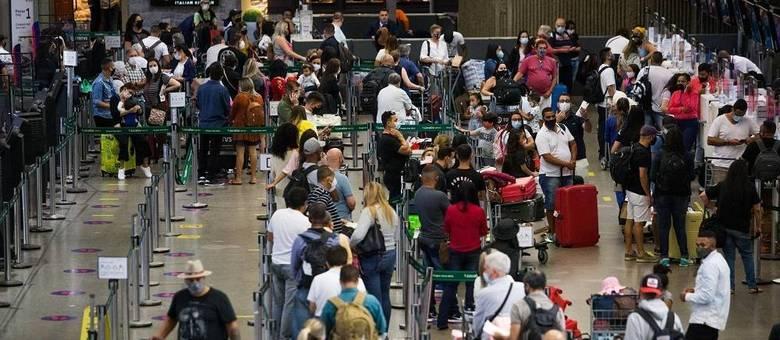 Aglomeração no aeroporto de Guarulhos