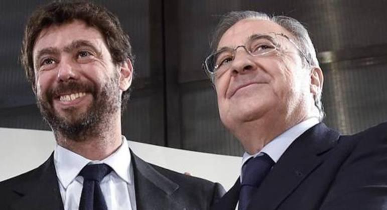 Agnell, da Juventus, e Perez, do Real, o vice e o presidente da fracassada Superliga