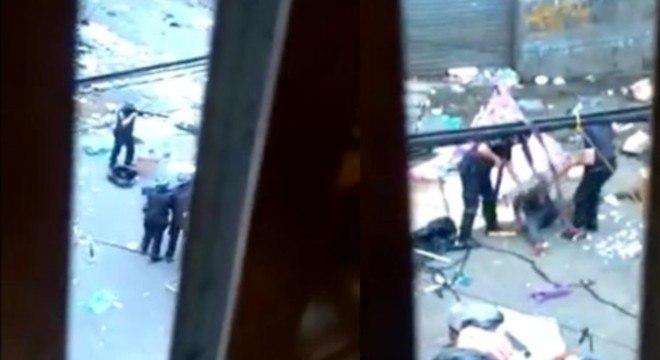 Vídeo gravado entre vão de janela mostra ação dos GCMs e chutes no homem