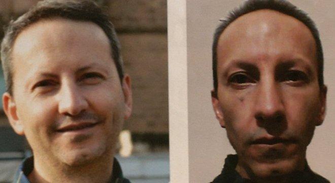 Ahmadreza Djalali antes de sua viagem ao Irã (esquerda) e em 2017, quando fez greve de fome na prisão.