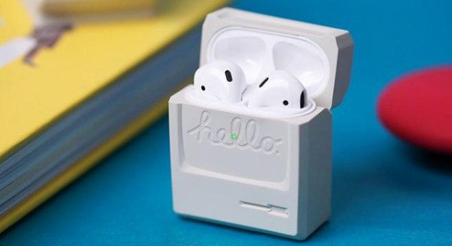 Estojo de recarregar AirPods relembra o computador Macintosh da Apple